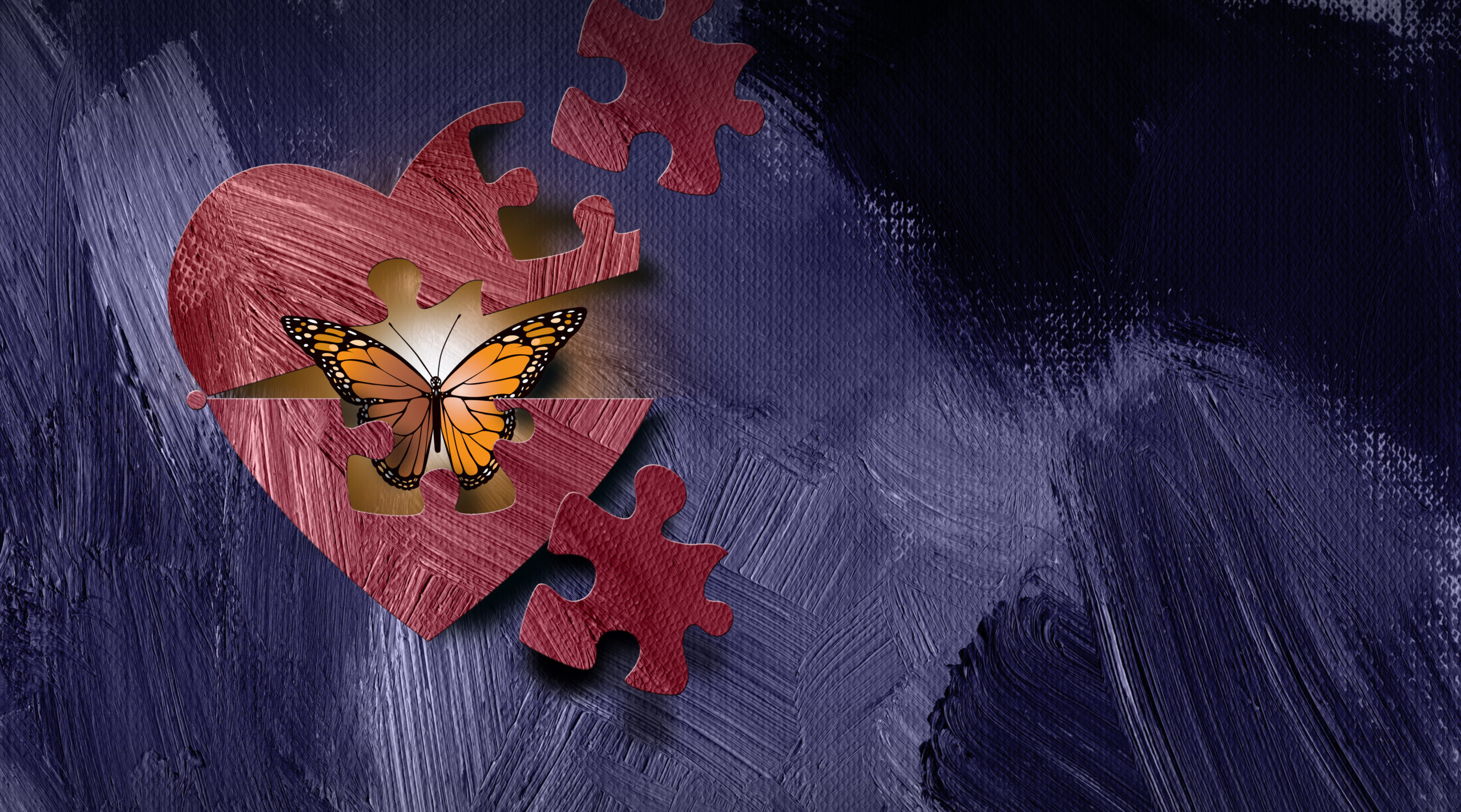 Graphic illustration of iconic butterfly emerging out of heart through a puzzle piece shape. Art applicable for various metaphoric concepts of emotions and feelings ranging from sadness and shyness to happiness and self confidence.