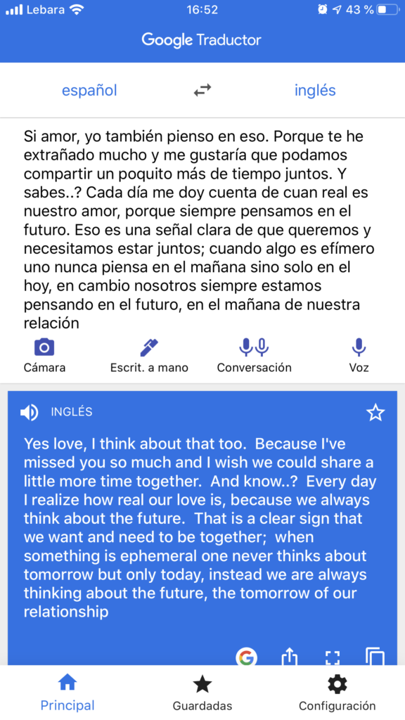 SPanish and Engish translations of our texts