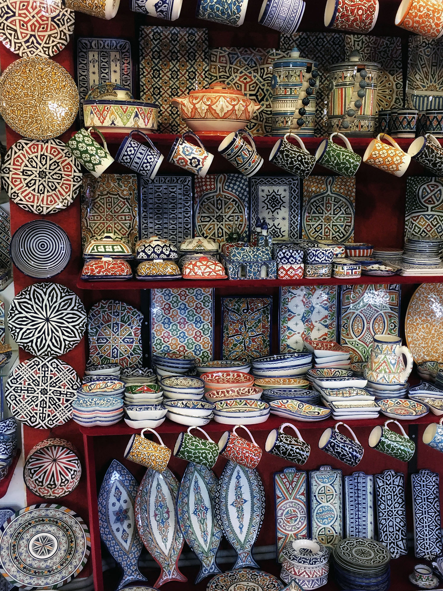 Pottery in a souk in rabat Morocco