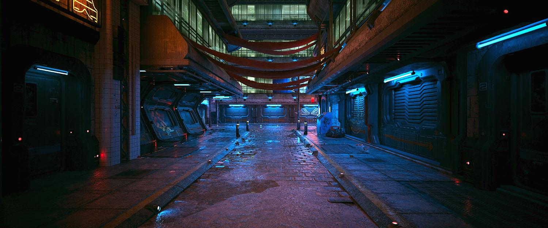 Dark neon night in a cyberpunk city. Photorealistic 3d illu